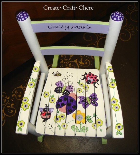 Child's Rocking Chair Purple Ladybug Theme
