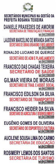 SECRETÁRIOS MUNICIPAIS