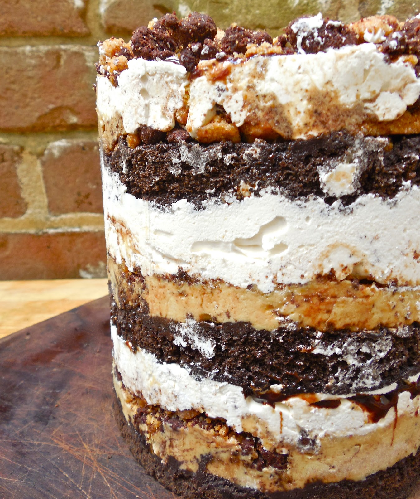 mores Layer Cake with Chocolate Fudge Cake, Malted Cake Soak, Malted ...