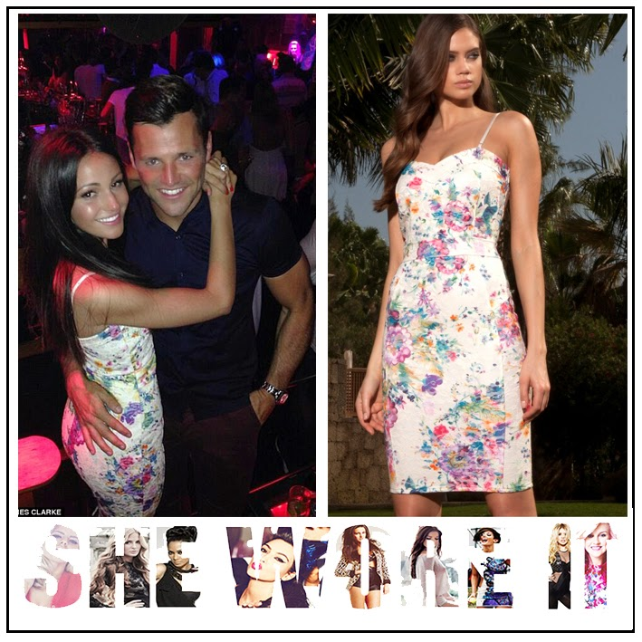 Bodycon, Dress, Floral Print, Lipsy, Michelle Keegan, Multicoloured, Pencil Dress, Sleeveless, White,