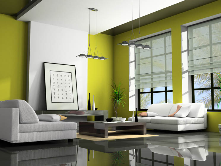 Home interior paint colors interior car led lights for Apple green living room ideas