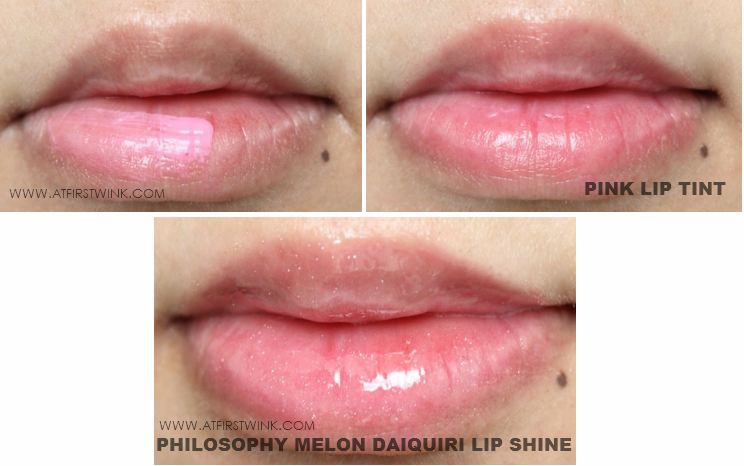philosophy melon daiquiri lip shine over pink lip tint