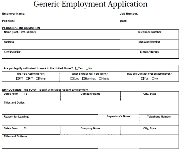 Generic Application For Employment  HunecompanyCom
