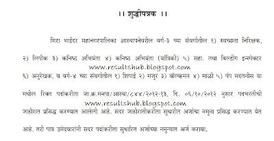 Mira-Bhayander Recruitment 2012