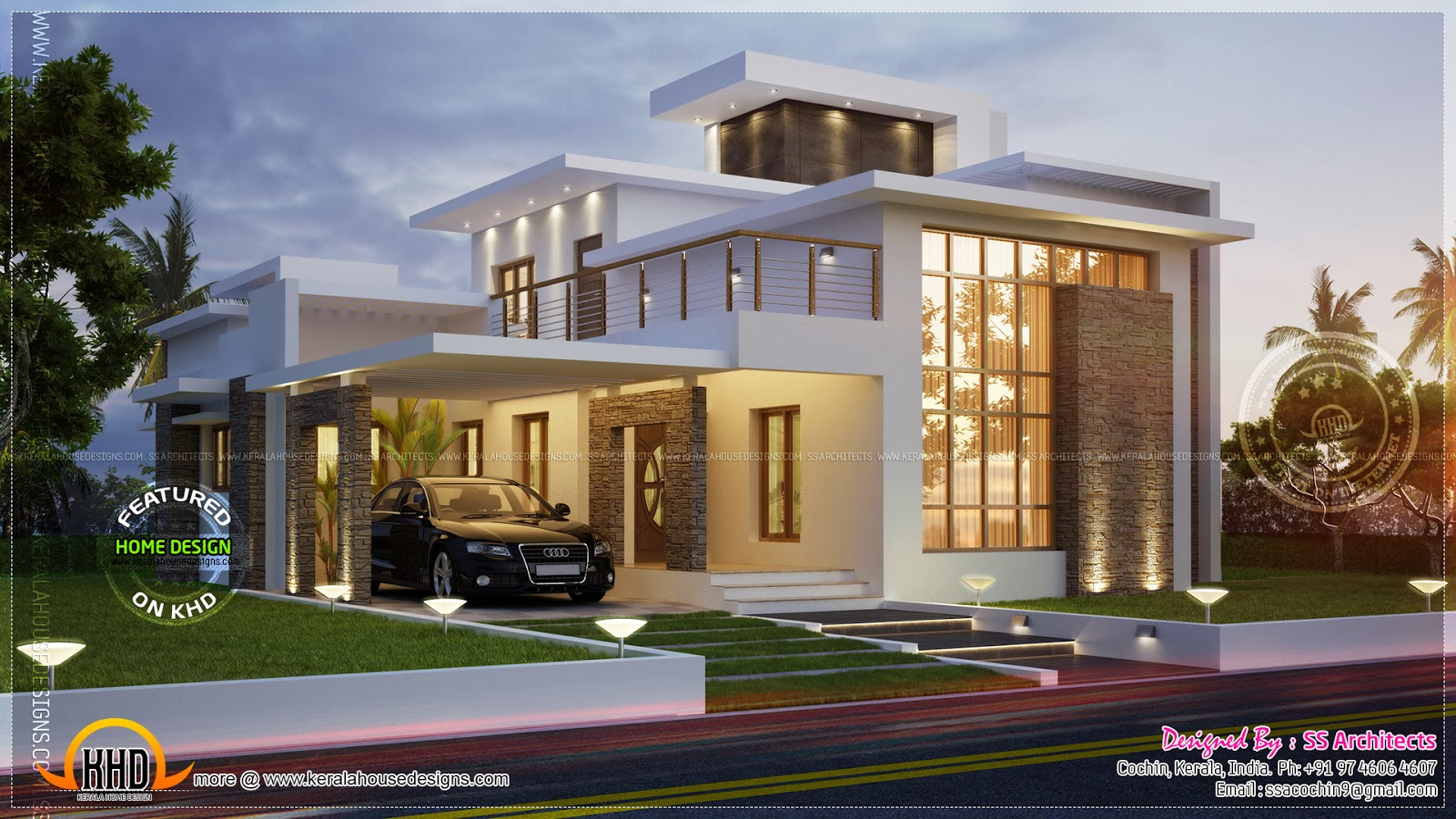 Awesome 3000 contemporary house kerala home for Modern house plans for 1600 sq ft