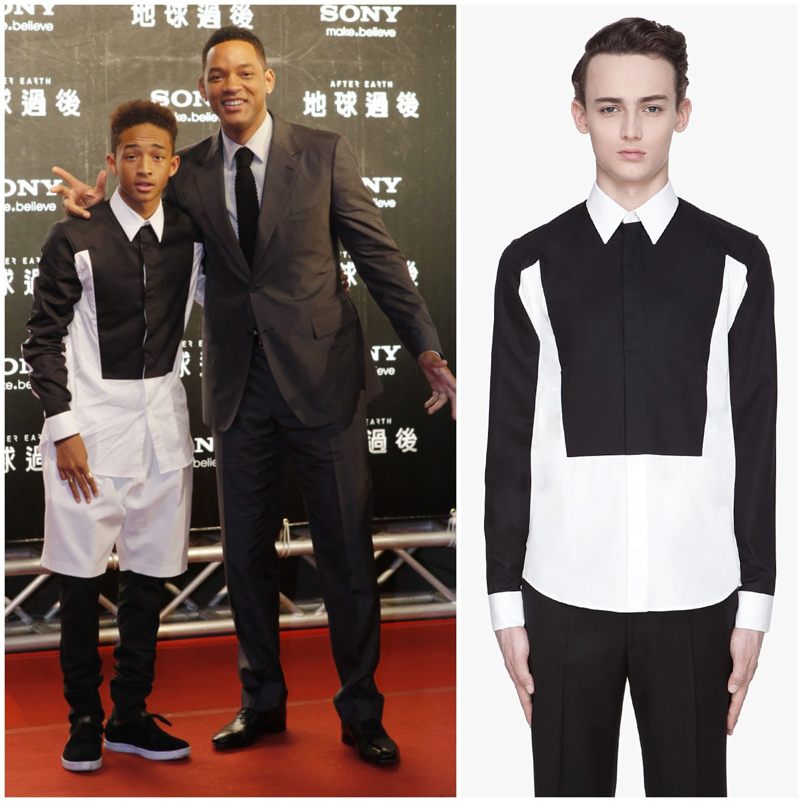 00O00 Menswear Blog: Will Smith and Jaden Smith in Givenchy white and black trompe l'oeil contrast shirt - 'After Earth' premiere in Taiwan