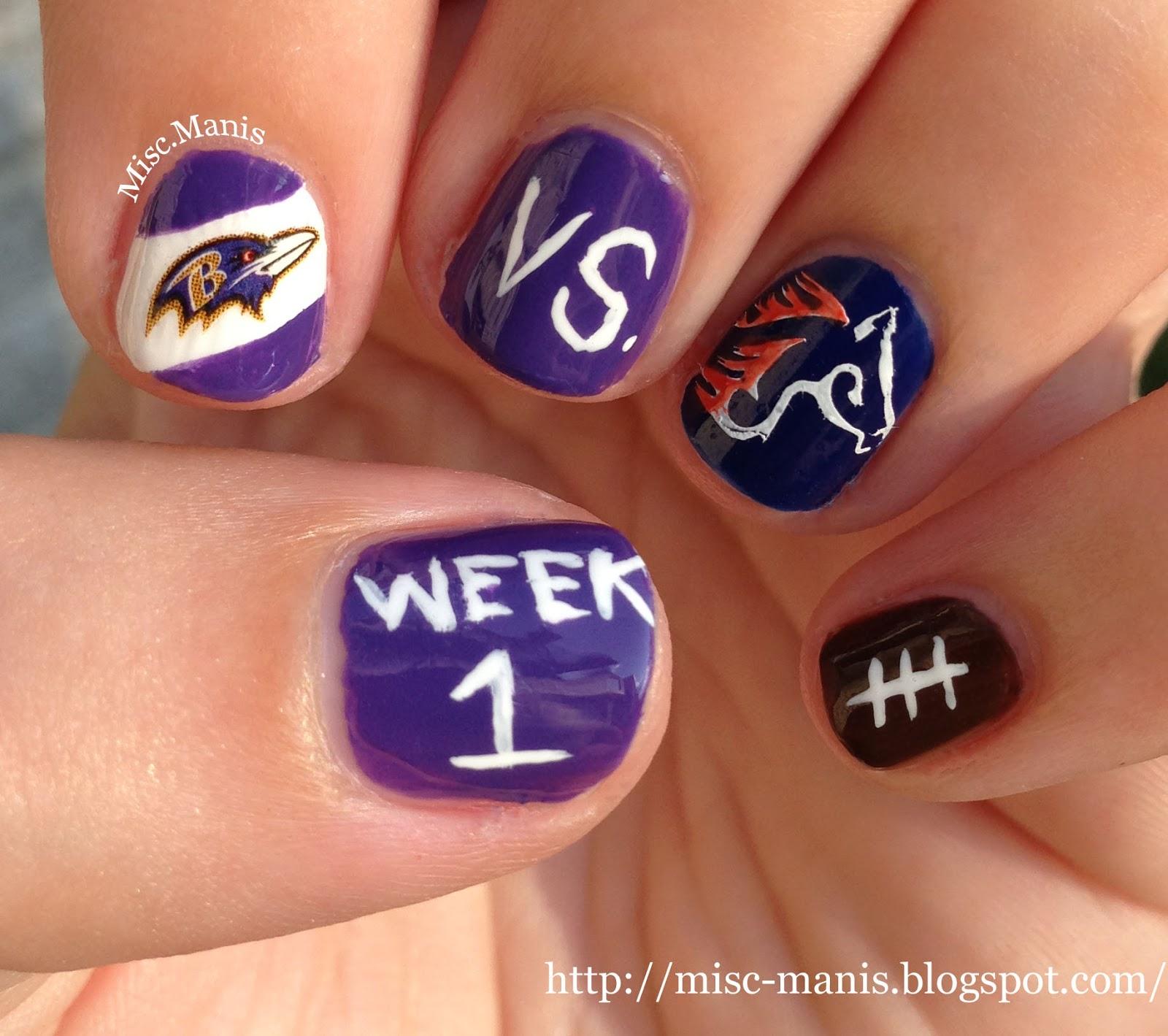 Miscellaneous Manicures: Baltimore Ravens Nails - Week 1 - Ravens vs ...