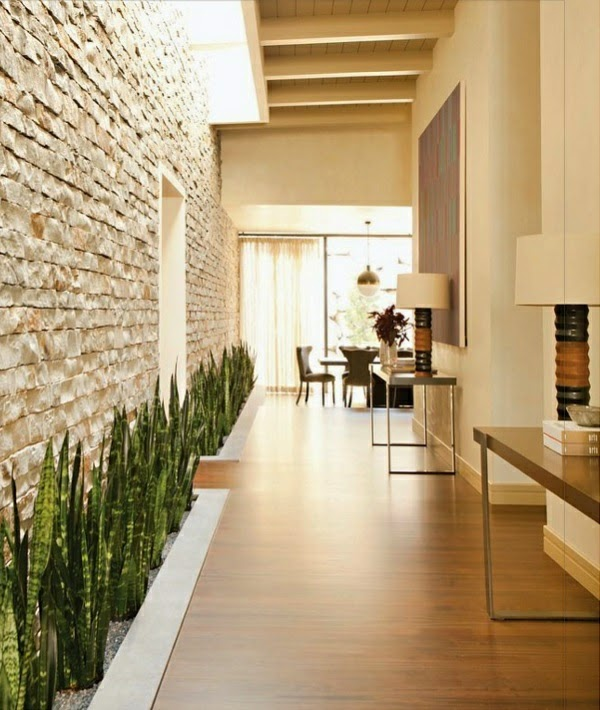 stone wall designs with plants in hallway interior - Interior Stone Wall Designs