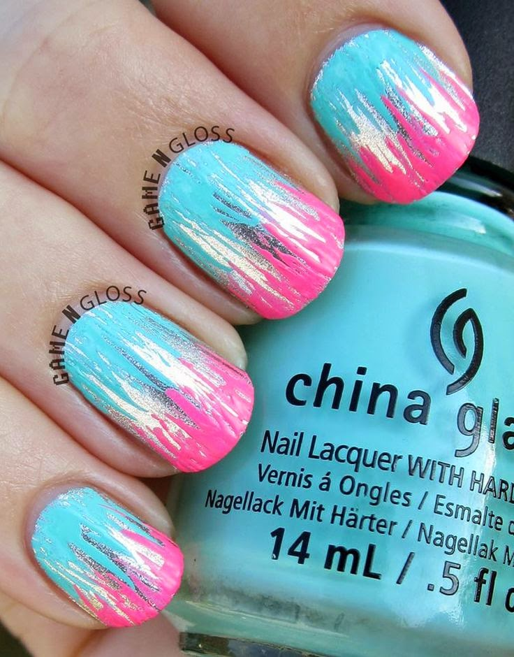 Metallic and neon nail polish design for summer