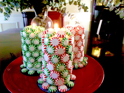 Christmas candy candles