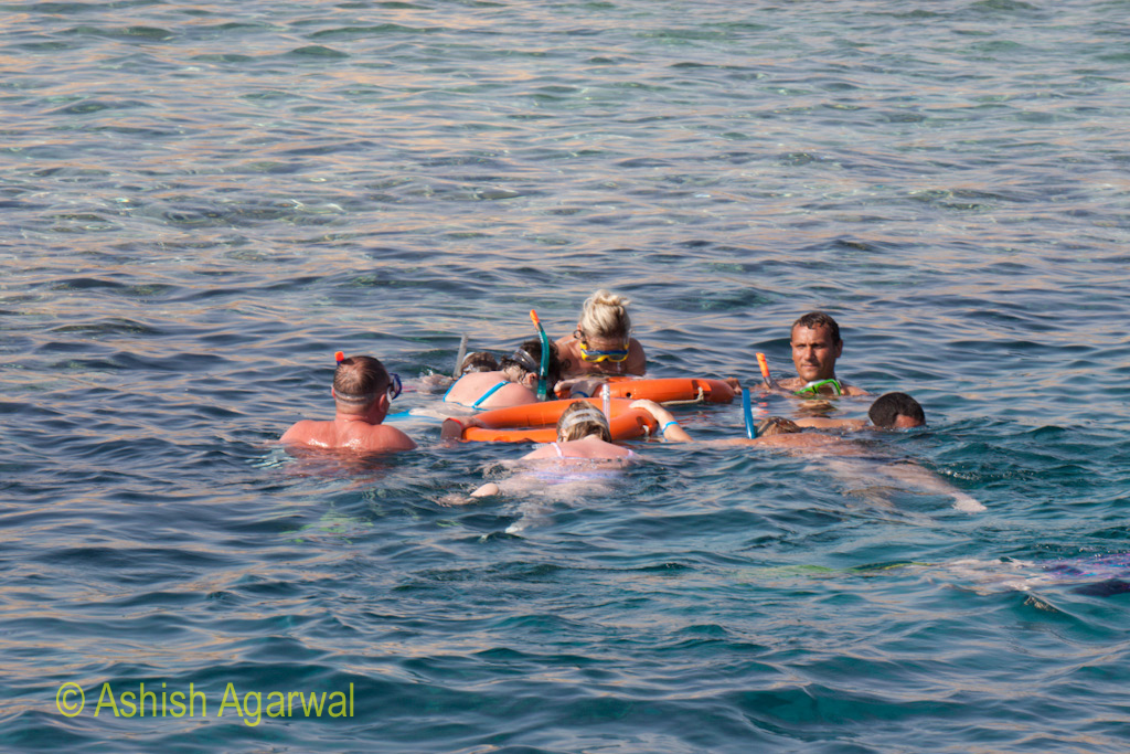 Snorkeling tourists grouped around a rubber tube near Sharm el Sheikh in Egypt