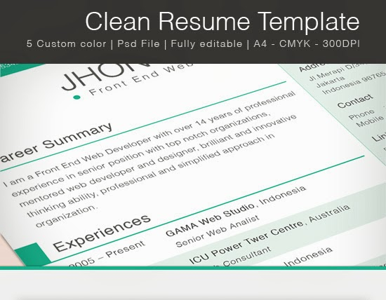 clean one page resume template for free printriver