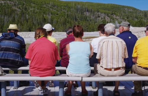 Crowd waits for Old Faithful Yellowstone
