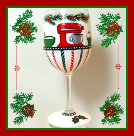Stand Mixer Painted Wine Glass