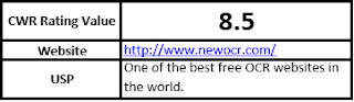 CWR Rating Value 8.5 Website http://www.newocr.com/ USP One of the best free OCR websites in the world.