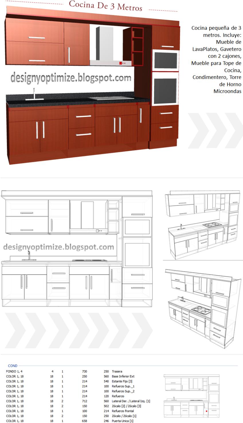 Dise o de muebles madera como dise ar y construir una for Cocinas de 3 metros de largo