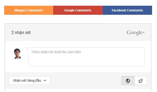 Dùng chung nhật xét Blogger, Facebook, Google+