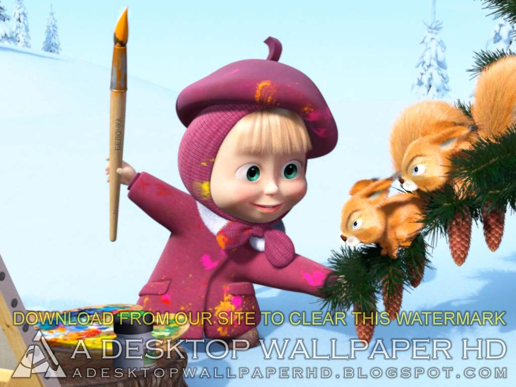 Masha And The Bear Drawing Cartoons Desktop Wallpaper HD  Desktop