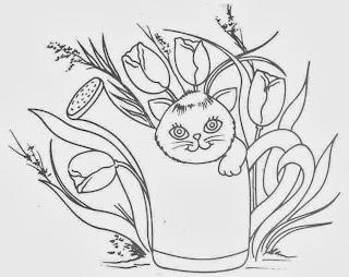 desenho de gatinho dentro do regador para pintar