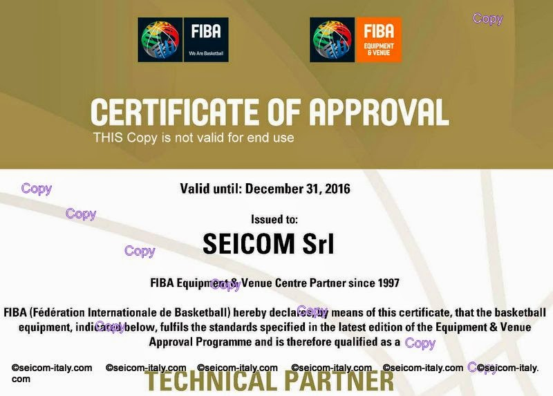 FIBA Cerificate Of Approval 2015-2016