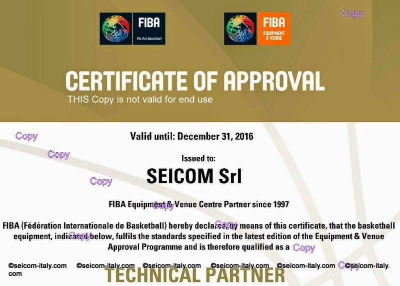 FIBA Cerificate Of Approval 2015-2016
