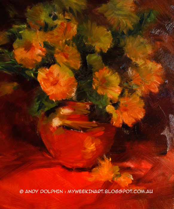 Brass vase and flowers still life under-painting by Andy Dolphin