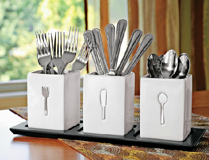 jeri s organizing decluttering news organizing the flatware when you don 39 t have kitchen drawers. Black Bedroom Furniture Sets. Home Design Ideas