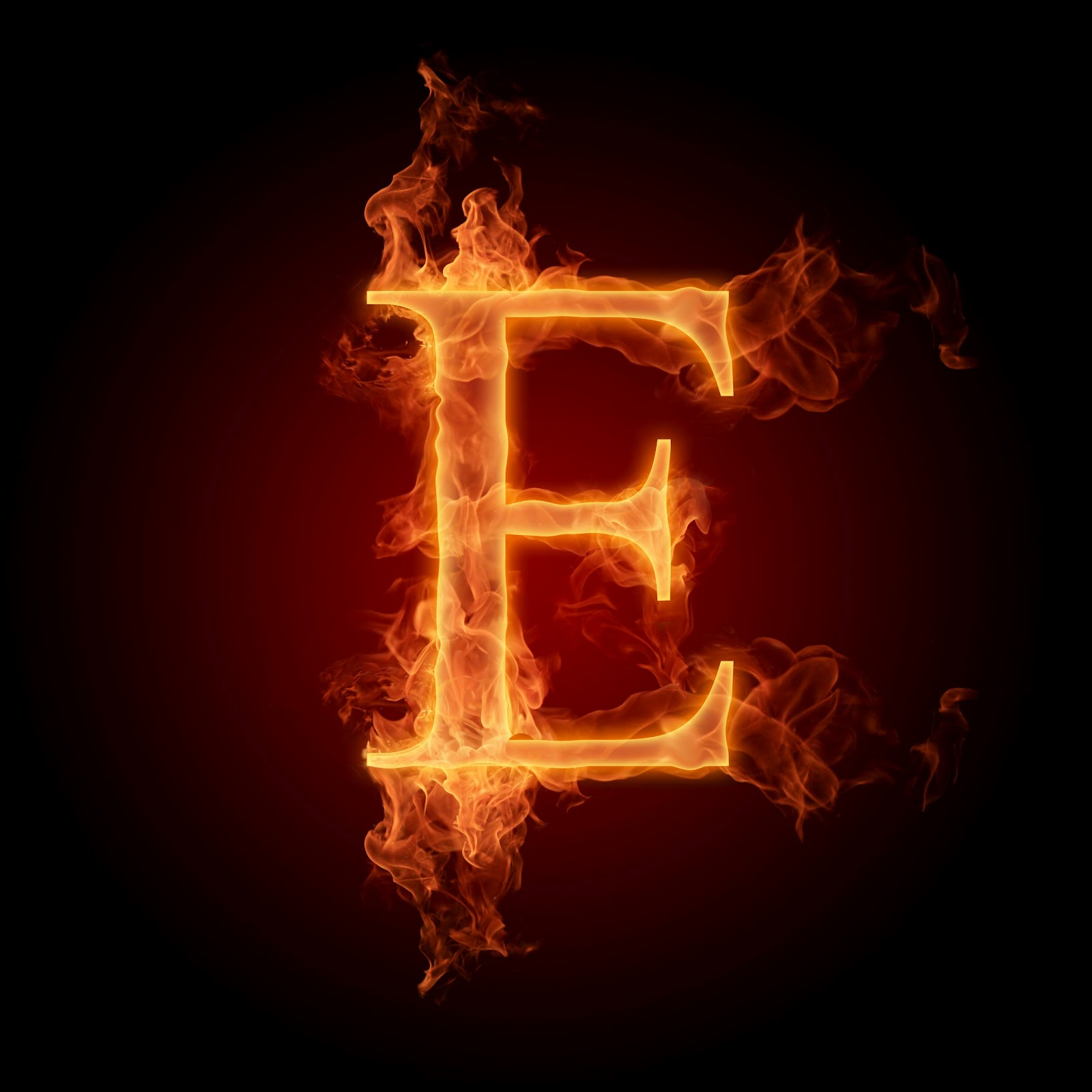 burning alphabe... E Alphabet Wallpaper