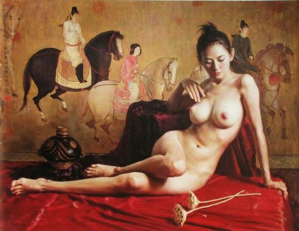 Guan Zeju pinturas foto-realistas mulheres bailarinas sensuais