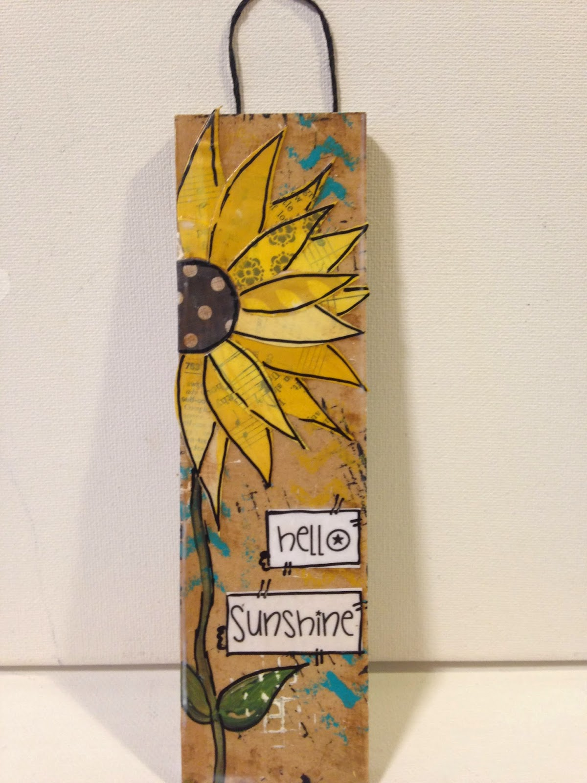 mixed media sunflower sign, sunflowers, painted sunflower