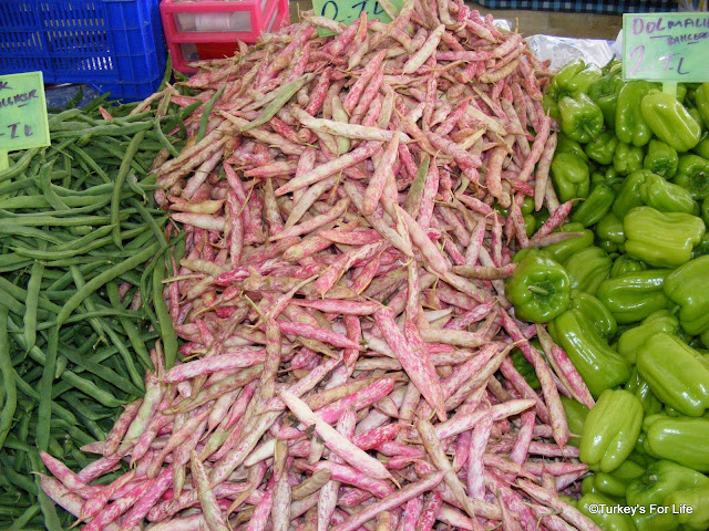 Turkish seasonal food - barbunya or cranberry borlotti beans