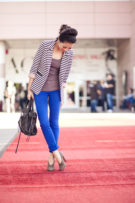 The Outfit Thief Outfit #3 Striped Blazer And Cobalt Pants