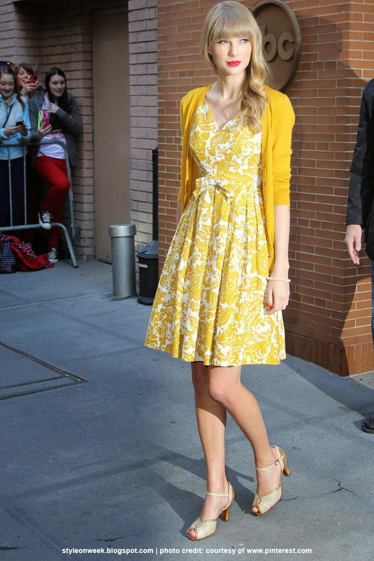 celebrity street style taylor swift dresses canary