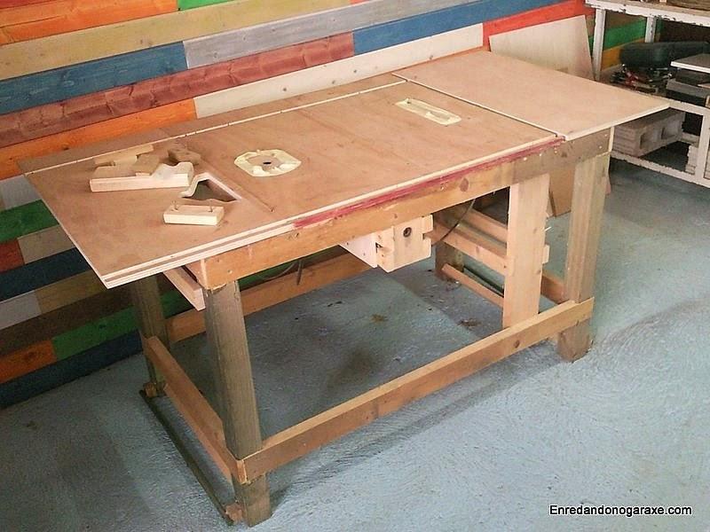 Mesa combinada de carpintería sin tinte. www.enredandonogaraxe.com