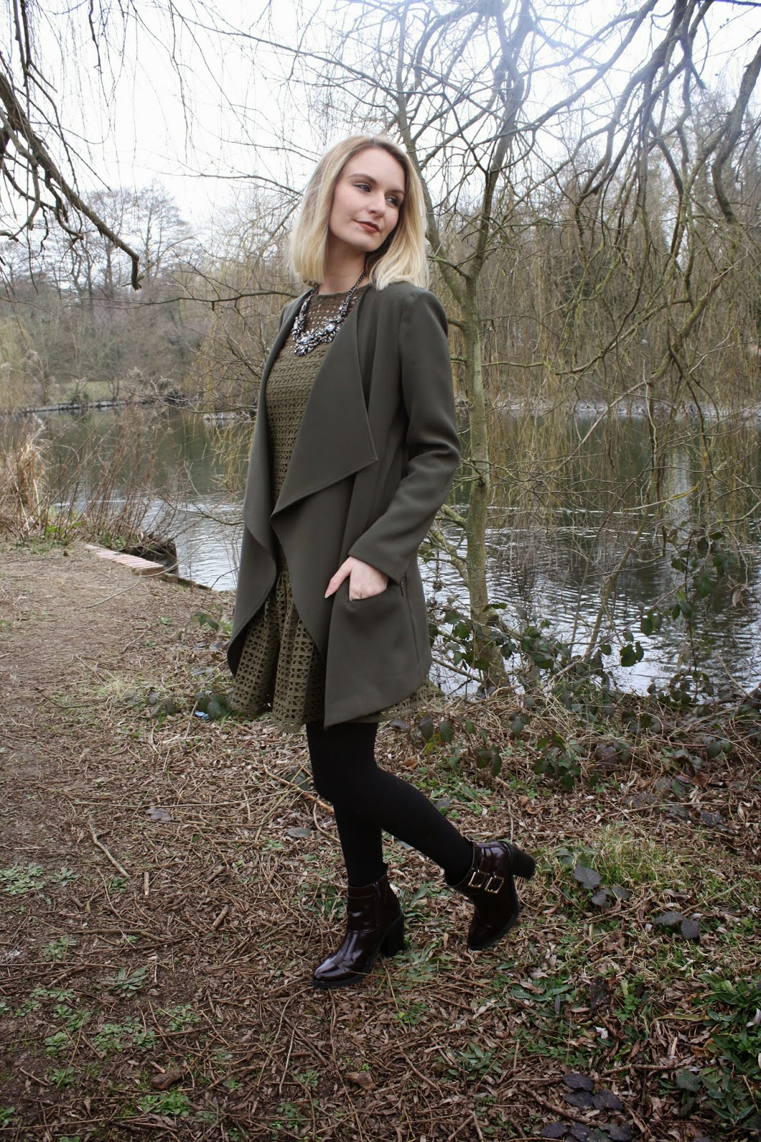 khaki crochet ASOS dress, dorothy perkins waterfall jacket, military, utility, burgundy buckled Missguided boots, statement necklace, phase eight, ss15, trend, great brisith weather