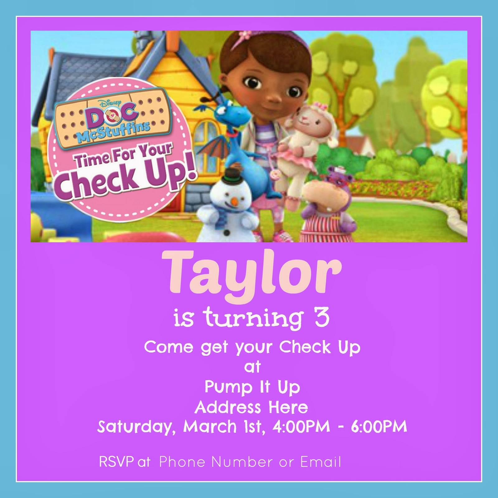 Doc McStuffins Birthday Invitation Tutorial