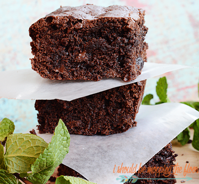 Double Chocolate Peppermint Brownies | Easy homemade brownies using peppermint essential oil and dark chocolate chips.