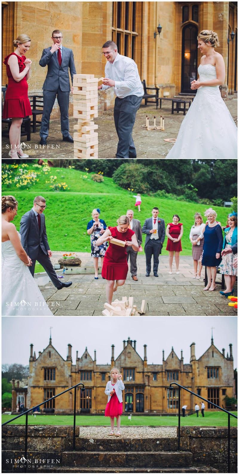 Wedding guests enjoying garden games at Dillington House