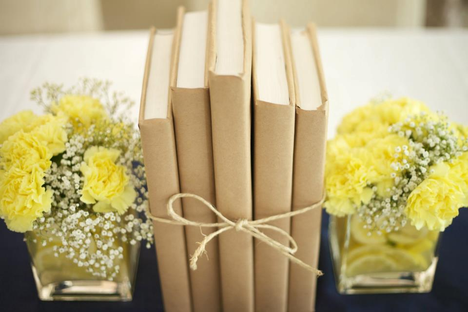 Wisedingwords Yellow Carnation Book Centerpieces