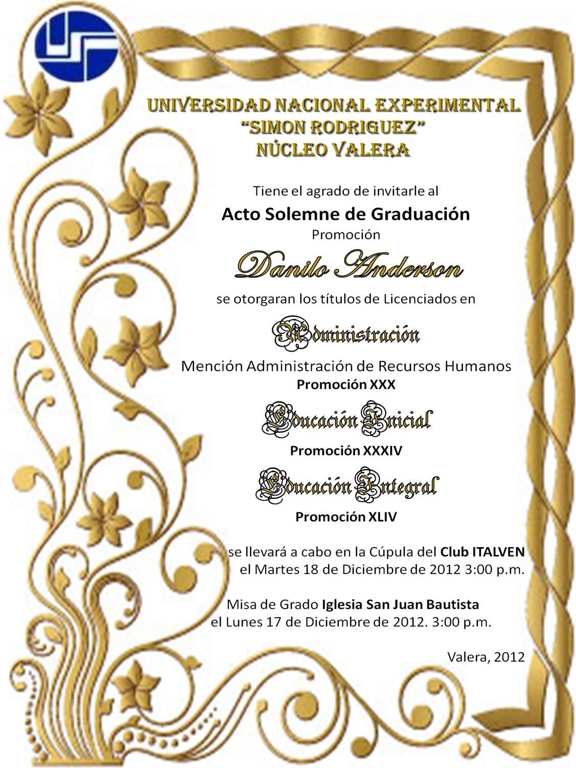 Tarjetas de invitación para graduación de bachiller
