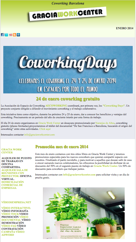 Newsletter Gracia Work Center Enero 14