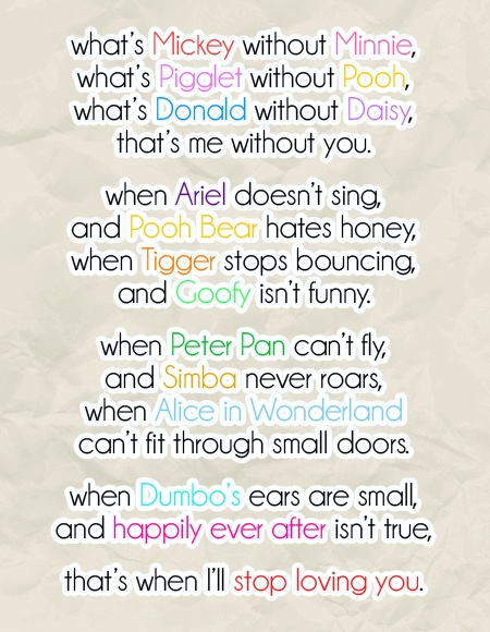 Cute Disney Love Poems