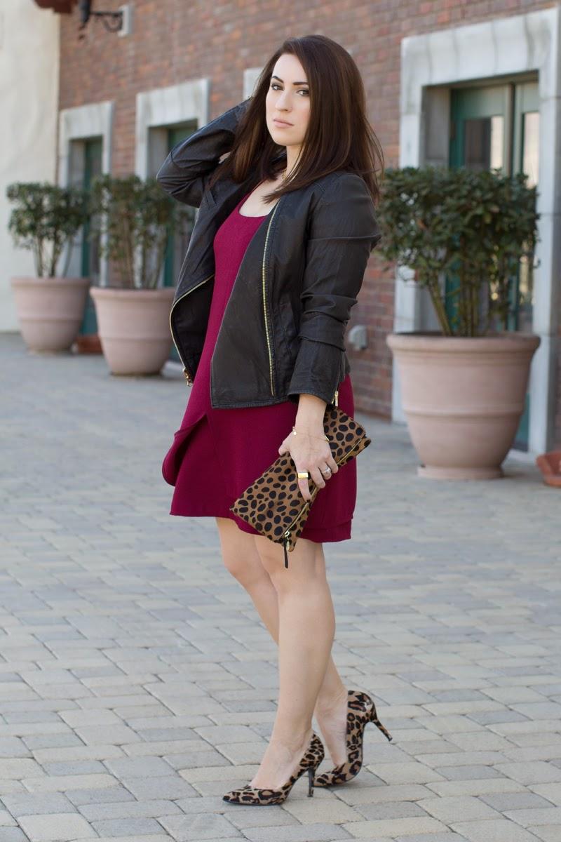 leather moto jakcet, leopard pumps, maroon dress