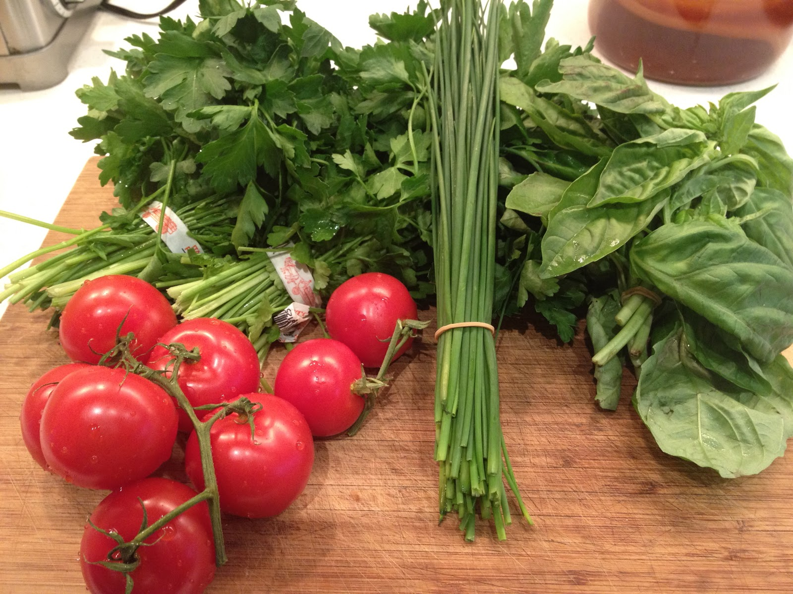 Tomatoes, parsley, chives, and basil. Also needed: onion and garlic ...