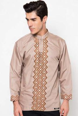 Contoh desain busana muslim pria untuk lebaran lengan panjang