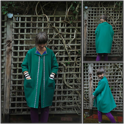 Easy Cute Straight Straight Stitch Sewing: Square Coat in green felt