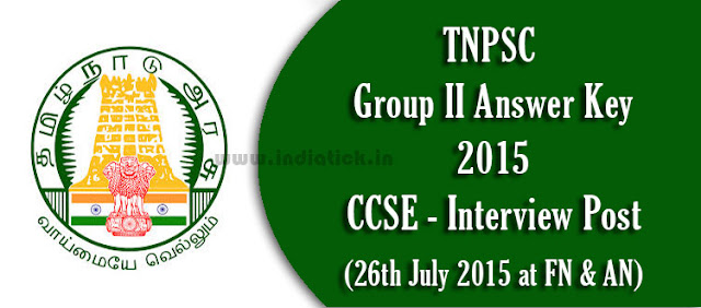 TNPSC Group 2 Answer Key 2015 pdf 26th July