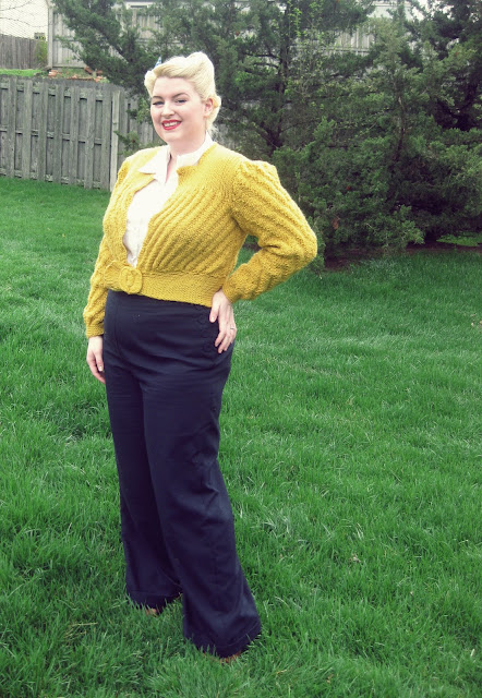 1940s plus size pants and free knitting pattern for 1946 date maker cardigan