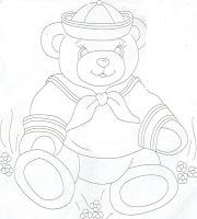 """""""risco ursinho marinheiro para pintar fralda"""""""