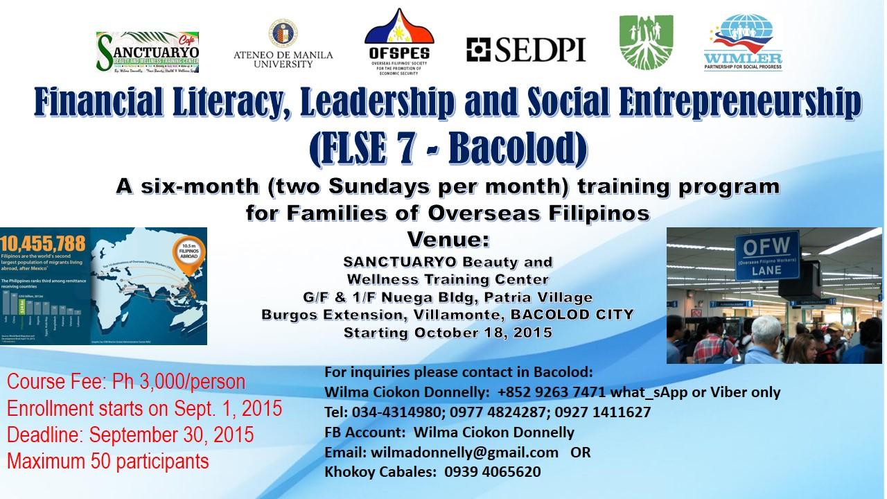 An Empowerment Program For Families Of Overseas Filipinos The Financial Literacy Leadership And Social Entrepreneurship FLSE Training